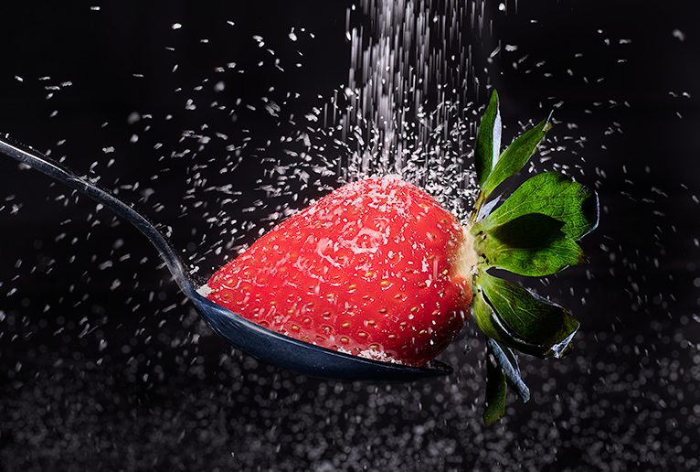Strawberry And Sugar Creative Product Photograph