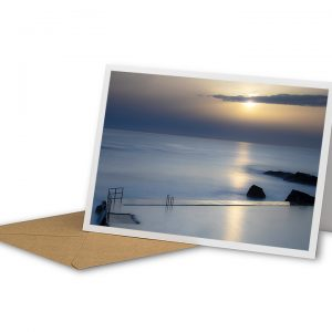 Sunset At Bude Sea Pool Greetings Card And Envelope