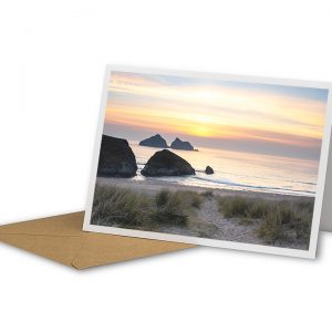 Sunset At Holywell Bay Greetings Card And Envelope