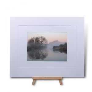 Misty Watermead Park Double Mounted Print